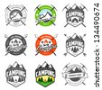 Set of vintage camping logo, labels and badges - stock vector