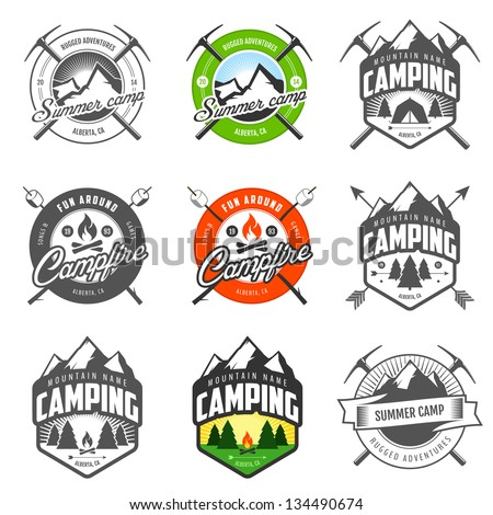 Set of vintage camping logo, labels and badges - stock photo