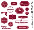 Set of vintage Christmas holiday labels and graphics - stock photo