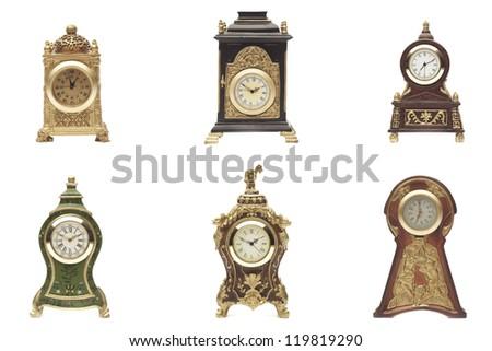 Set of vintage clock on white background - stock photo