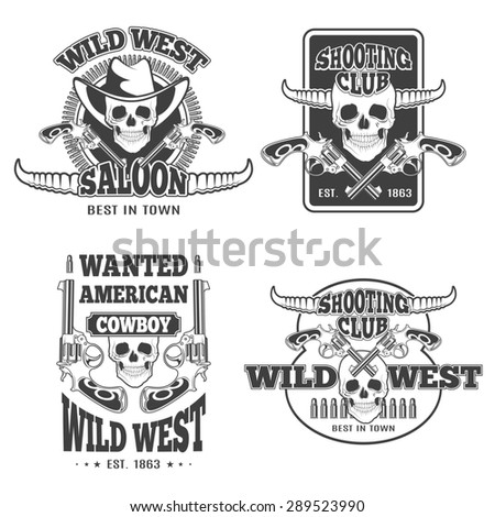 Set of vintage cowboy emblems, labels, badges, logos and designed elements. Wild West theme. Monochrome style - stock photo