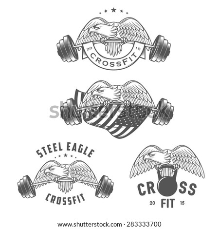 Set of vintage crossfit emblems and design elements - stock photo