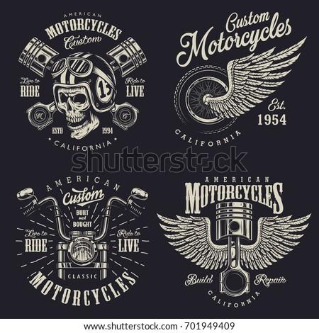 Set Vintage Custom Motorcycle Emblems Labels Stock Illustration ...