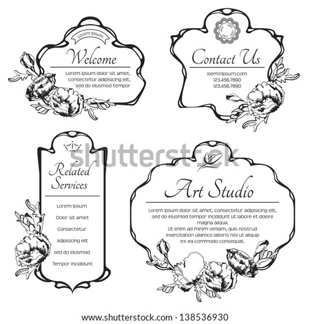 Set Of Vintage Decorative Antique Labels With Flowers Border Retro