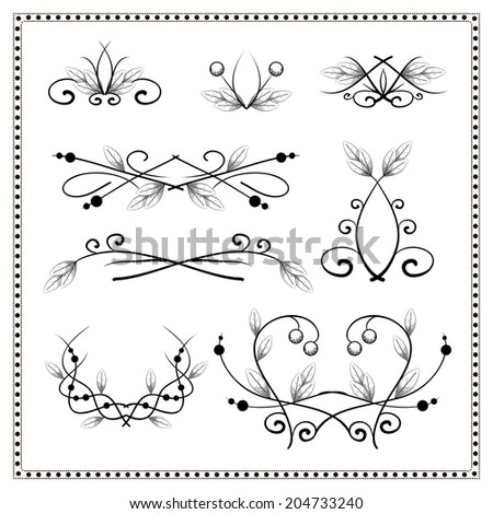 Set of vintage decorative engraved elements and dividers with leaves and berries - stock photo