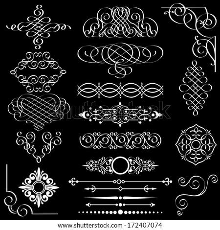 Set of vintage design elements. Raster version  - stock photo