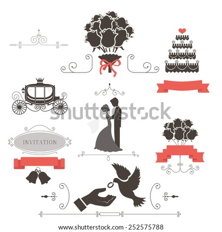Set of vintage elements for wedding invitation illustration - stock photo