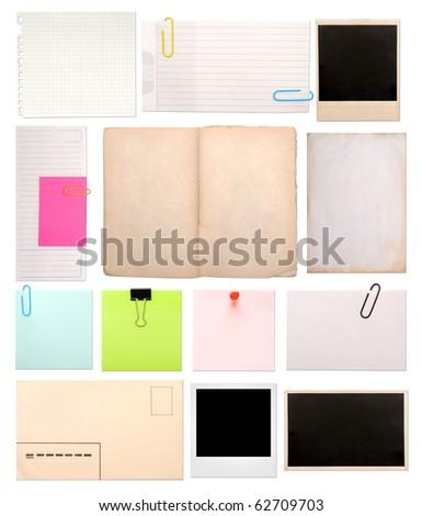 set of vintage empty notes isolated on white - stock photo