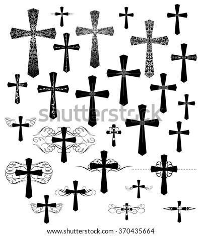 Set of vintage engraving crosses with flourishes - stock photo