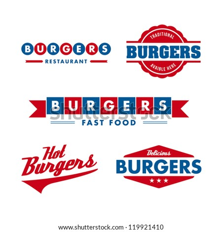 set of vintage fast food restaurant signs, panel, badge and label - stock photo