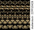 Set of vintage floral decorative elements for design, print, embroidery. Raster version. - stock