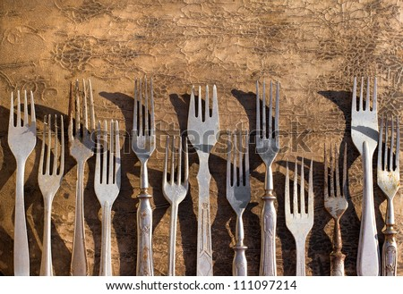 Set of vintage forks - stock photo