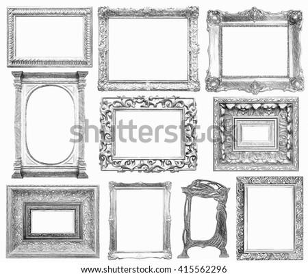Set Vintage Frame Draw Sketch Style Stock Illustration 415562296 ...