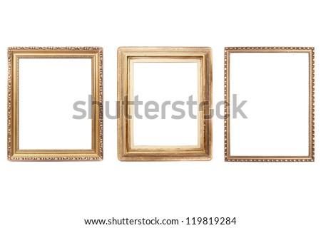 Set of vintage frame on white background - stock photo