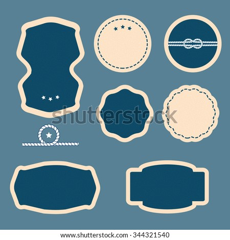Set of Vintage frames, blank retro badges and labels. Dark blue blank frame and label. Set of sea and nautical labels, badges. - stock photo