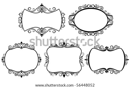 Set of vintage frames. Vector version also available in gallery - stock photo