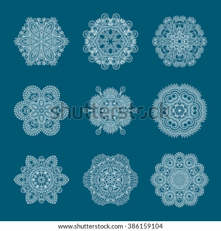 Set of vintage gold floral decorative elements for design, print, embroidery. Raster version. - stock photo