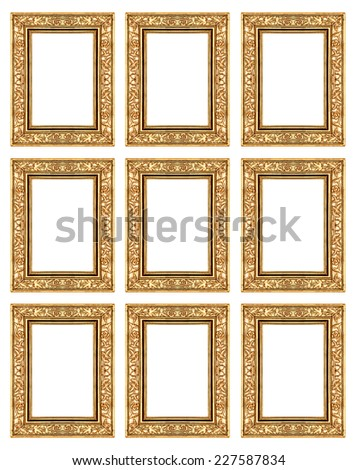 set 9 of vintage gold frame isolated on white background