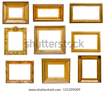 Set Vintage Gold Frames Isolated On Stock Photo 121309009 Shutterstock