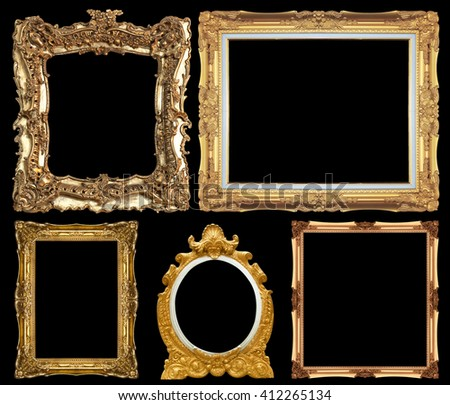 Set of Vintage gold picture frame isolated black background. - stock photo