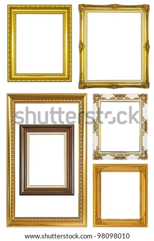 Set of Vintage gold picture frame isolated with clipping path