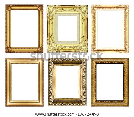 set of vintage golden frame with blank space