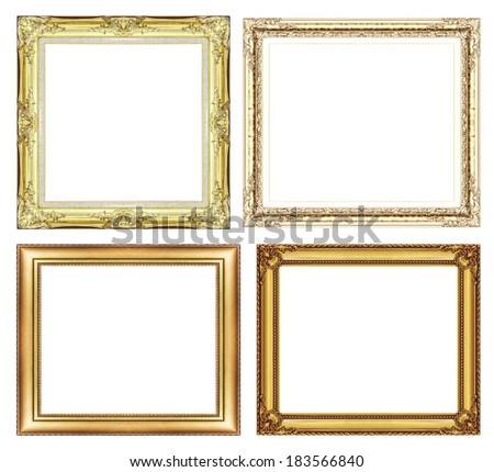 set of Vintage golden frame with blank space and clipping path