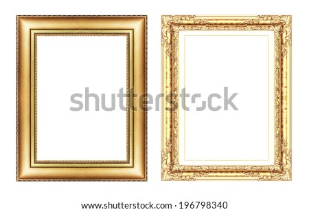 set of vintage golden frame with blank space  isolated on white background. - stock photo