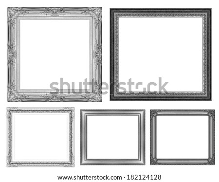 set of vintage gray frame with blank space, with clipping path