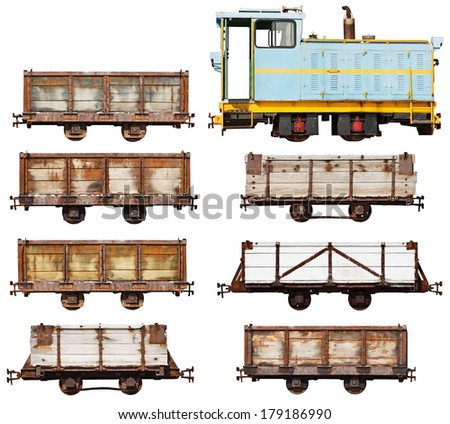 Set of vintage locomotive and cars isolated on white background - stock photo