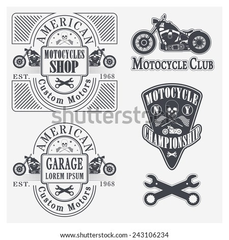 Set of vintage motorcycle labels, badges and design elements - stock photo