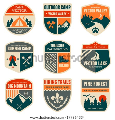 Set of vintage outdoor camp badges and emblems - stock photo