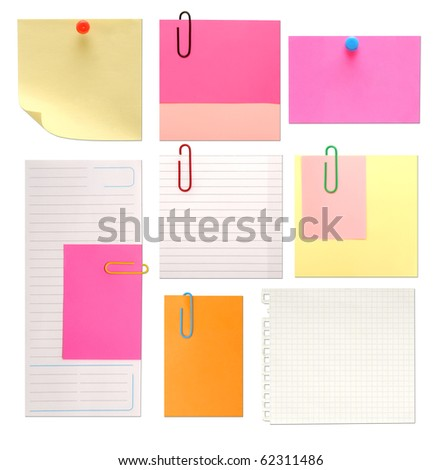 set of vintage paper notes isolated on white background - stock photo