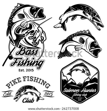 set of vintage patterns with emblems for fishing with pike, salmon, bass - stock photo
