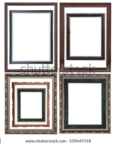 Set of Vintage picture frame, isolated with clipping path psd layer - stock photo