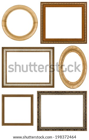 Set of 6 vintage picture frames, isolated on white background - stock photo