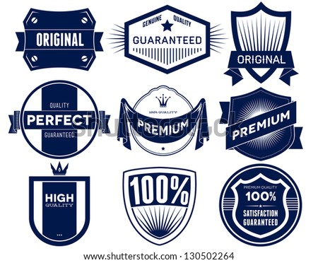 Set of vintage Premium Quality labels. Bitmap collection 2 - stock photo