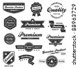 Set of vintage retro premium quality badges and labels - stock photo