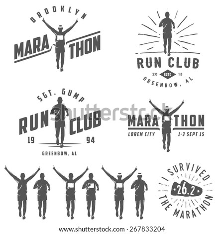 Set of vintage run club labels, emblems and design elements - stock photo