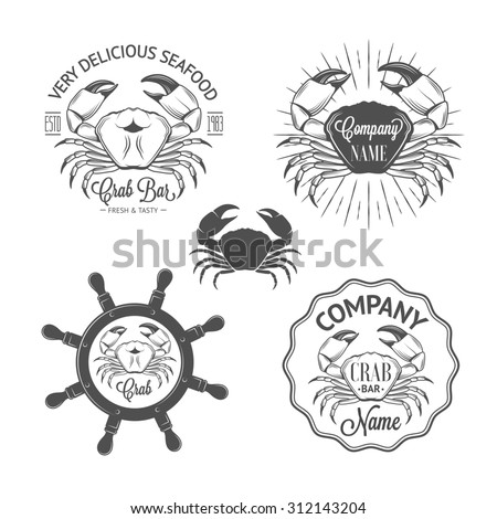 Set of vintage seafood labels and badges with crabs, sunburst, helm for your design - stock photo