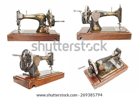 Set of vintage sewing machines - stock photo