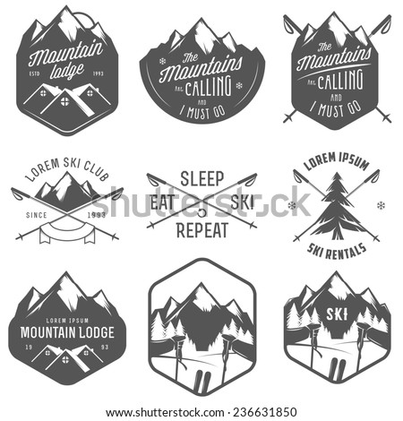 Set of vintage skiing labels and design elements - stock photo