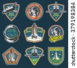 Set of vintage space and astronaut badges, emblems, logos and labels. Colored on dark background. - stock vector