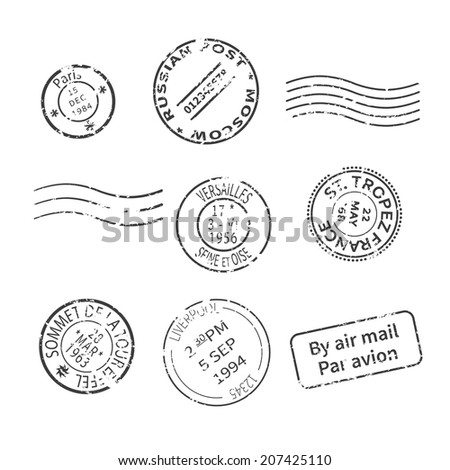 Set of vintage style post stamps from countries and cities around the world. Rasterized bitmap version. - stock photo