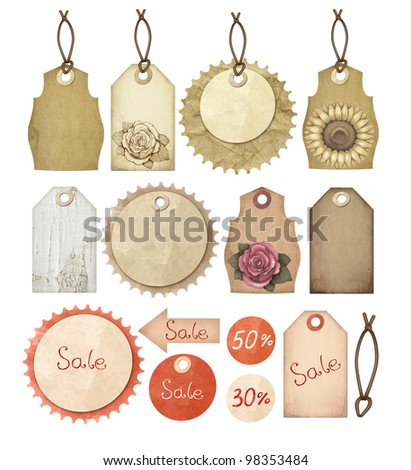 Set of vintage tags