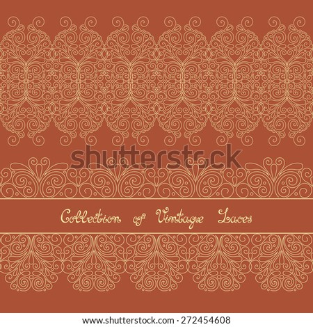 Set of Vintage Template with Ornate Laces. Hand Drawn Borders in Trendy Linear Style. Wedding Decor - stock photo