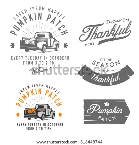 Set of vintage Thanksgiving Day emblems, signs and design elements - stock photo