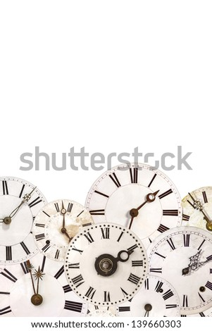 Set of vintage white clock faces isolated on a white background