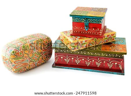 set of Vintage wooden caskets from India - stock photo
