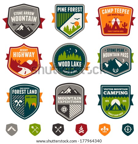 Set of vintage woods camp badges and travel emblems - stock photo